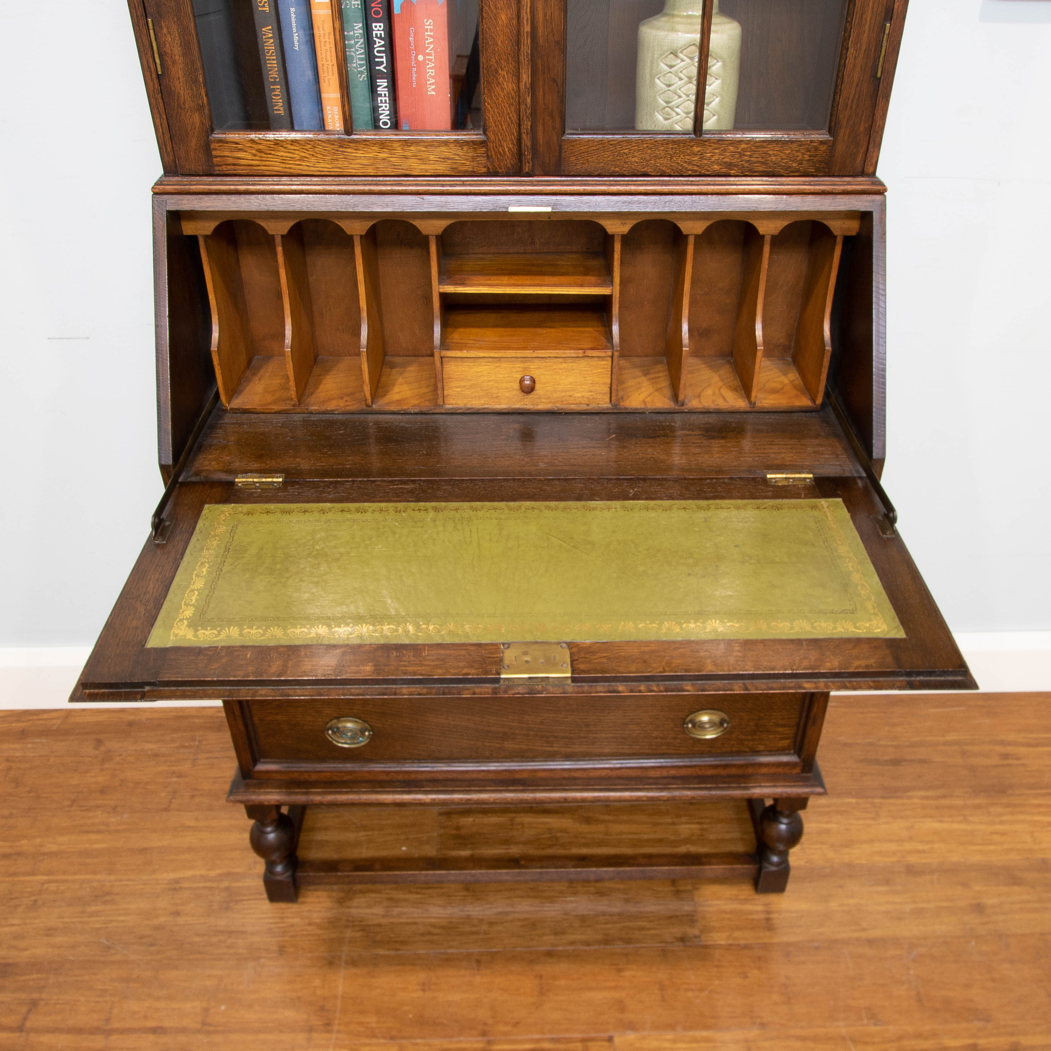 6522 Antique Vintage Oak Library Bureau Bookcase Desk