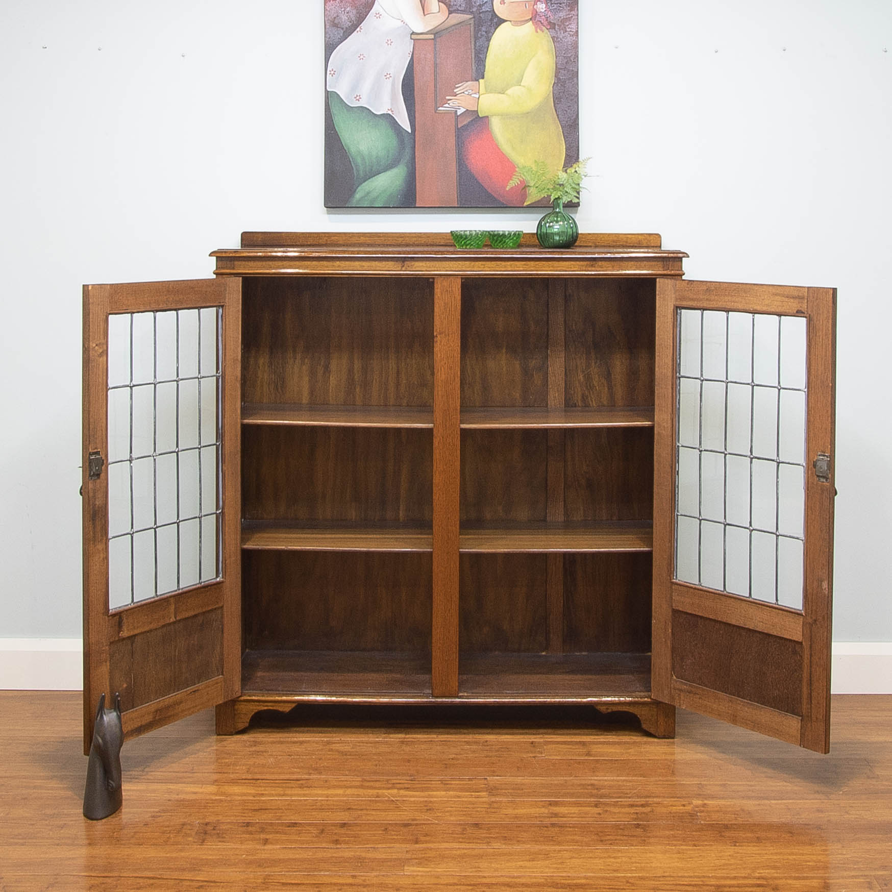 Antique Vintage Library Bookcase / Leadlight Glass