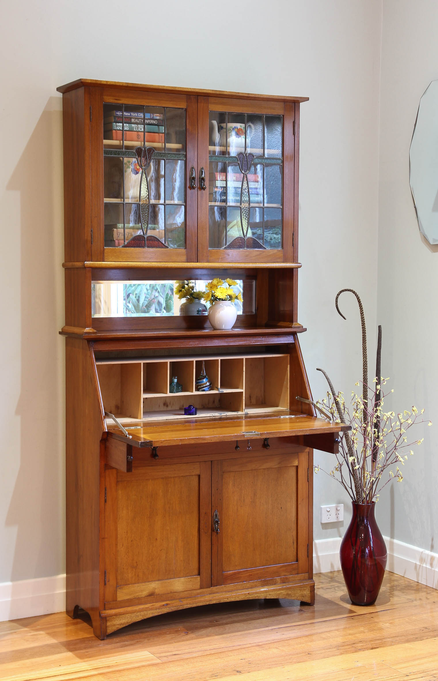 The Downing Street Executive Curio Desk: Antique Vintage Leadlight Glass Display